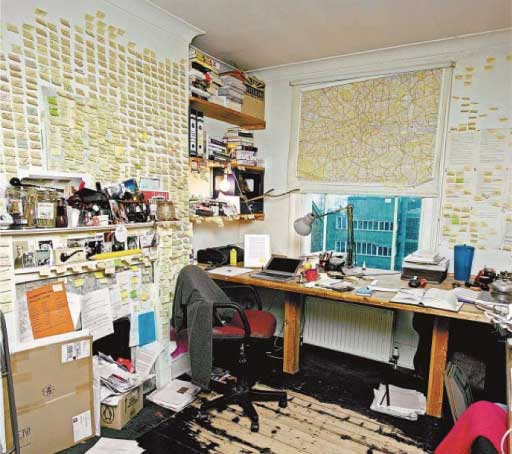 Will Self's Writing Room: Note all the Post-its!