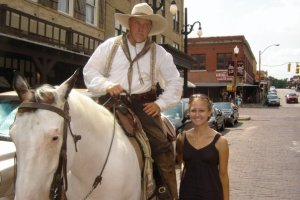 This cowboy doesn't look too happy about being in a photo with me!