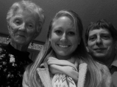 My grandma, me and my dad on Christmas Eve. I took this photo with my MacBook, which explains the surprised looks and the somewhat warped-looking faces. Happy holidays to all!