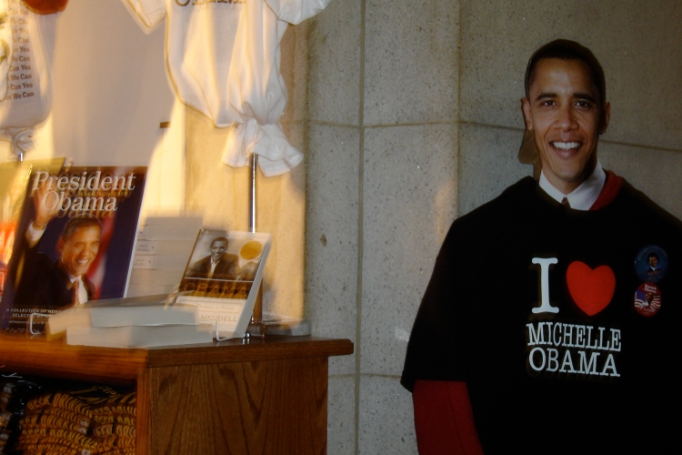 Obama was posing next to Poynter's election front-page book, which was on display at Union Station. OK, so maybe he wasn't posing next to it, but we can pretend!