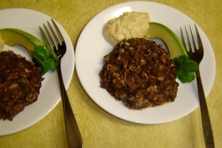 Homemade black bean burgers and hummus.