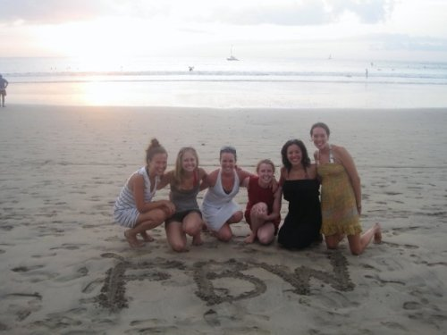 Three-quarters of our college crew, FBW. Fun before work (FBW) was our college motto. Always served as a reminder that we had to find time for fun amidst all the papers, exams, etc. ... Photo taken on our last night just before sunset on la playa Tamarindo. Did I mention how much I love my friends?