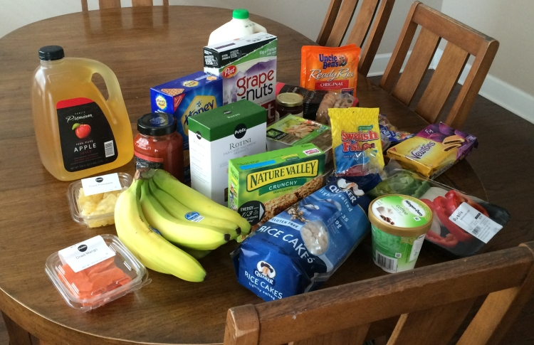 Groceries I bought during my carb-load trip