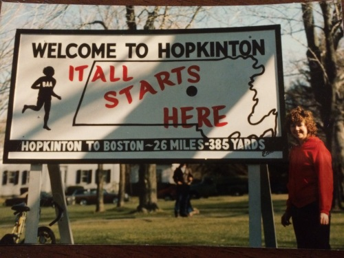 Mom at the starting line of the Boston Marathon in Hopkinton, Mass