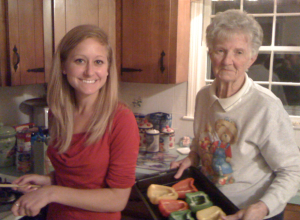 Gramz teaching me how to make her delectable stuffed peppers.
