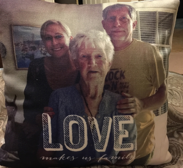 I turned this photo of me, Gramz, and my dad into a pillow and gave it to Gramz last Christmas. She loved it and took it to the rehab facility where she stayed for several months before passing away. Here's a voicemail recording of her thanking me for the pillow. It's comforting to hear her voice.